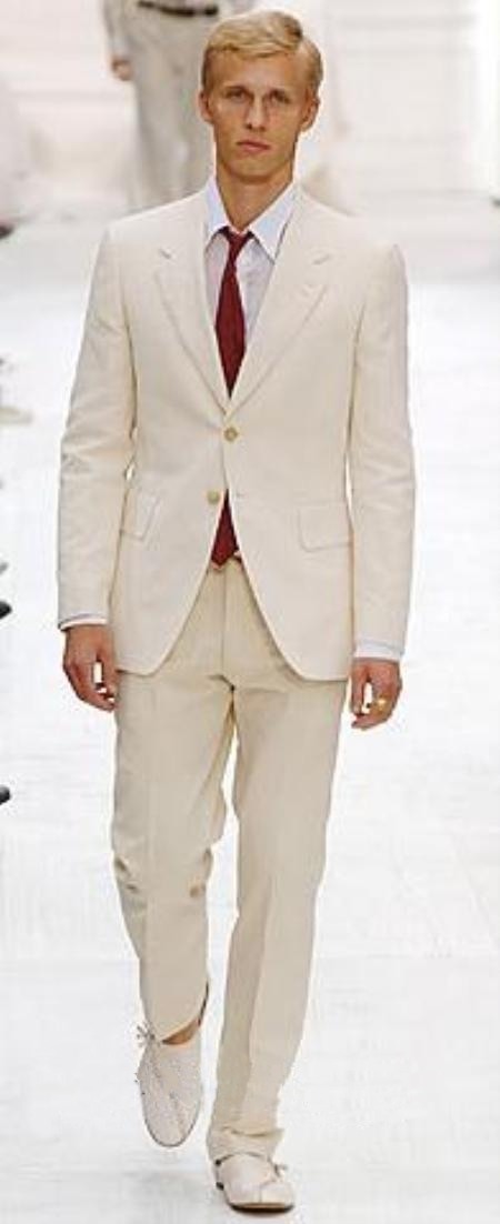 Product# S81201 Highest Quality Two Button Style Ivory/Cream Suit Cool Lightest Weight Fabric Ivory ~ Off White Suit