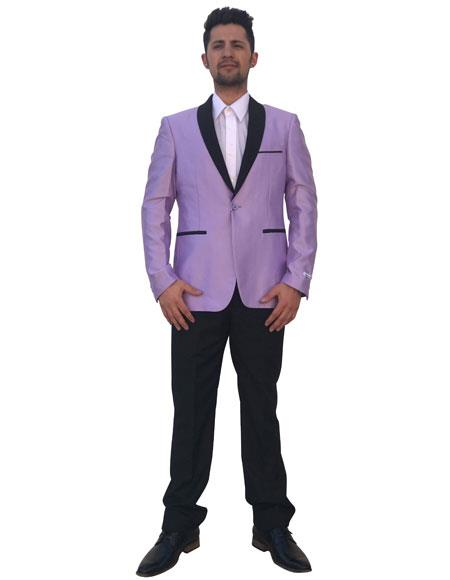 Men's Lavender 2 Button Black Shawl Lapel Single Breasted Blazer ~ Sport Coat