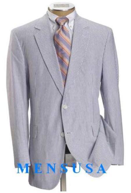 Product# JOSEM2568 Causal White & Light Blue ~ Sky Blue Pinstripe Summer Cheap priced Mens Searsucker Seersucker Sale Fabric Summer Suits for Online 2 Button Style Cotton Summer Suit