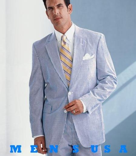 Product# EFO938 EFO938 Causal White & Light Blue ~ Sky Blue Pinstripe Summer Cheap priced Mens Searsucker Seersucker Sale Fabric Summer Suits for Online 2 Button Style Cotton Summer Suits for Online Cool