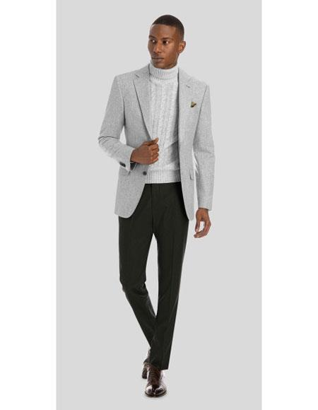 Product# JSM-6675 Mens Light Gray 2 Button Solid Pattern Wool Notch Lapel Single Breasted Blazer