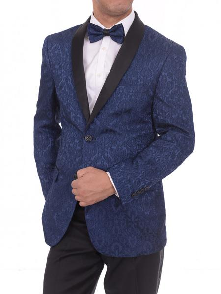 Men's 2 Button Satin Shawl Lapel Floral Navy Blue Slim Fit Blazer Sportcoat
