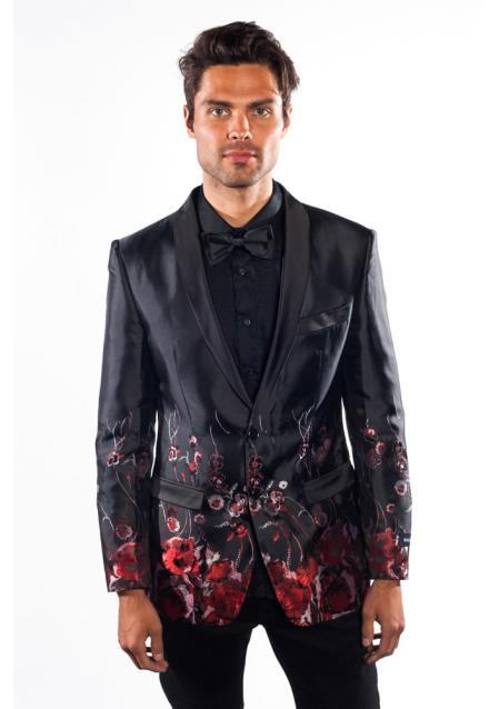 Mens 2 Button Flashy Shiny Sequin Blazer Sport Coat