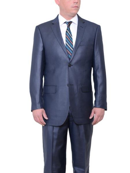 Product# JSM-424 Men's Navy Blue 2 Button Big & Tall Classic Fit Sharkskin Side Vent Suit