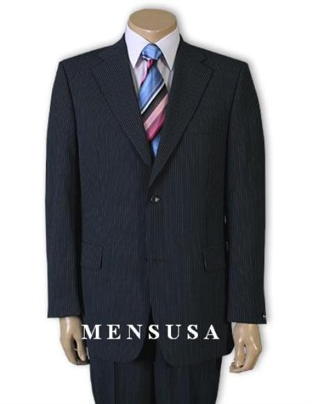 Product# QP1291 2 Button Style Navy Blue Shade Pinstripe Superior Fabric 120's Wool Fabric Business Suits for Online