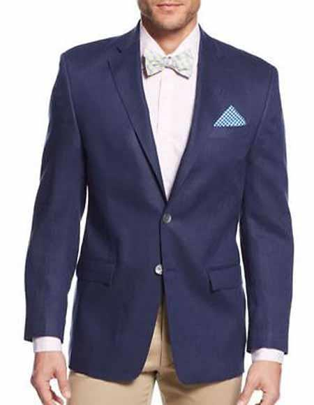 Product# SD301 Men's Notch Lapel Navy Solid 2 Button Single Breasted Linen Jacket Sportcoat Blazer