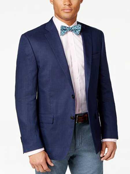 Product# JSM-307 Men's Navy 2 ButtonSolid Linen Classic Fit Sport Coat Blazer