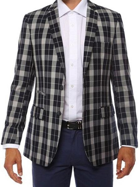 Ferrecci men's Plaid Slim Fit Navy Blazer Dinner Jacket