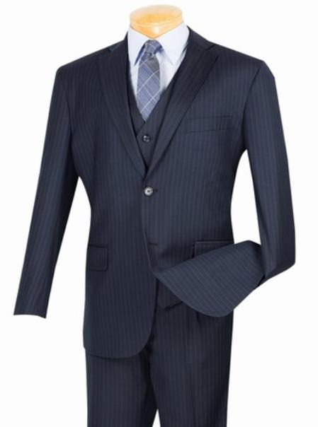 Product# JSM-1693 Men's 2 Button with Vest and Classic Pinstripe Suit