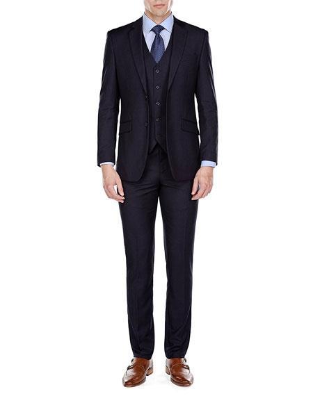 Product# JSM-6786 Men's Slim Fit 3 Piece Single Breasted 2 Button Navy Notch Lapel Suits