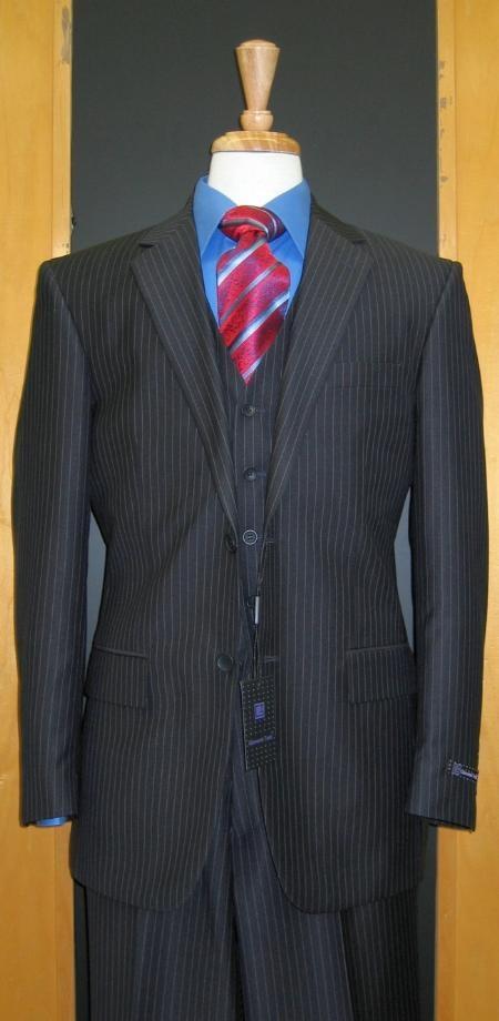Two Button Three Piece Navy Pinstripe Flat Front three piece suit