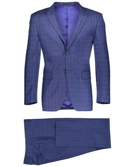 Navy Blue Suit - Navy Suit mens Slim Fit 2 Button Navy Suit Window Pane ~ Plaid Suit ~ Blazer & Pants