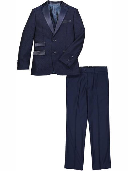 Fashion Designed 3 Piece Notch Lapel Navy Vested Tuxedo Suit