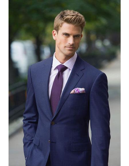 Mens navy suit purple