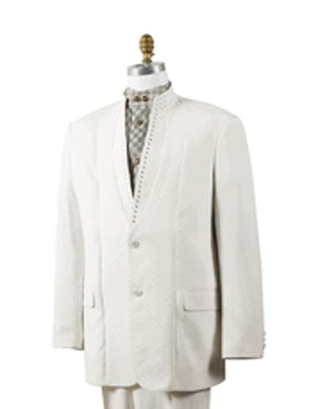 Product# JSM-5661 Mens Off White 2 Button Mandarin Collar Rhinestone Fashion Suit