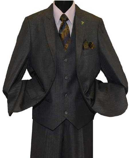 Product# SD135 Mens Stacy Adams Brand Sharkskin Tonal Striped 2 Button Light Olive Peak Lapel Single