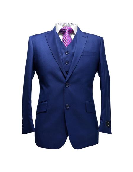 Alberto Nardoni Best Mens Italian Suits Brands Indigo ~ Cobalt ~ Teal Blue Blue Pick Stitched 2 Button Suit Pleated pants