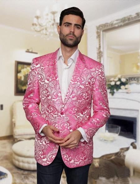 Product# JSM-4865 Mens Big and Tall Single Breasted Pink Blazer Sport coat Jacket Tuxedo Looking! Paisley floral PatterN