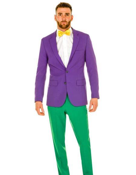 Men's Single Breasted 2 Button Notch Lapel Purple Black and Purple Tuxedo Suit
