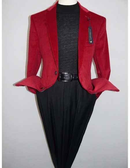 Men's 2 Button Red 100% Cotton Modern Fit Notch Collar Corduroy Blazer Jacket