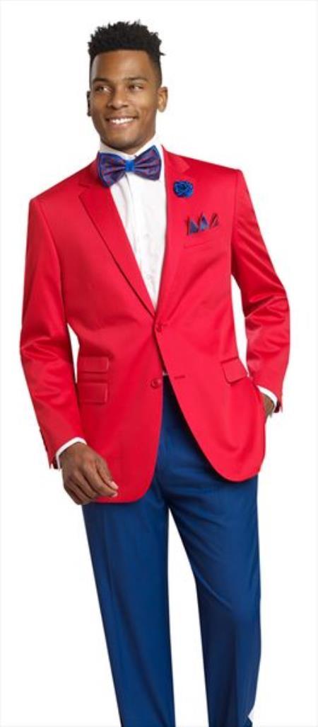 Men's 2 Button Red 2 Piece Blazer
