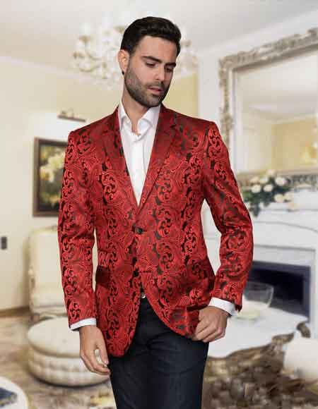 Red Sequin Paisley Colorful Stage / Prom / Entertainer Fashion Sport Coat Blazer Jacket Perfect For Prom Clothe - Prom Outfits For Guys