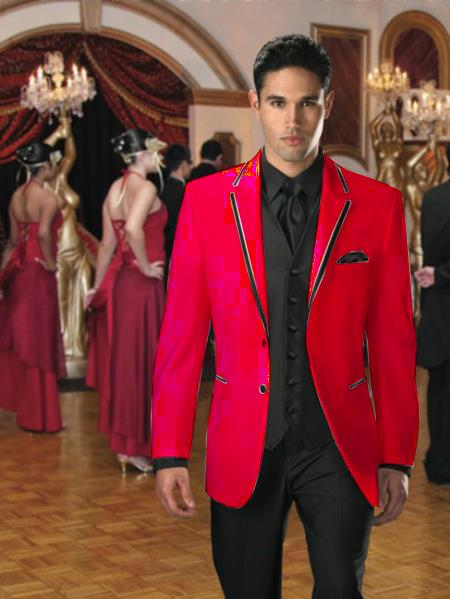 Product# YN-27 Two Button Stage Party Tuxedo smoking jacket Velvet Velour Sport Coat & Blazer Online Sale with Liquid Jet Black Edge Trim red color shade 7 days delivery