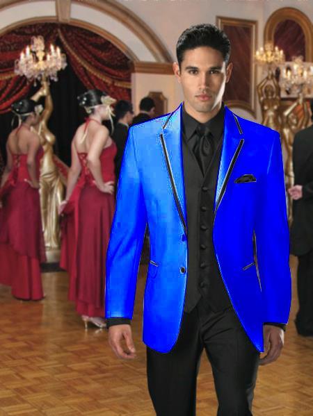 Product# RP-47 Two Button Stage Party Tuxedo Velvet Velour Sport Coat & Blazer Online Sale with Liquid Jet Black Edge Trim royal blue pastel color 7 days delivery