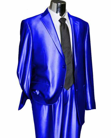 Product# SD133 Men's 2 Button Single Breasted Royal Blue Suit For Men Perfect  Notch Lapel Utex Shiny Sharkskin Suit