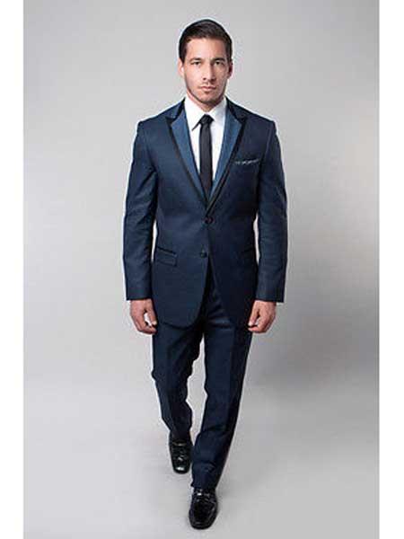 Product# JSM-186 Men's 2 Button Royal Blue Suit For Men Perfect  Slim Fit Satin Trim Peak Notch Lapel Side Vent Suit
