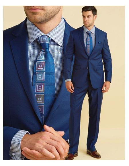 Product# JSM-6147 Men's 100% Wool 2 Button Royal Notch Lapel Suit