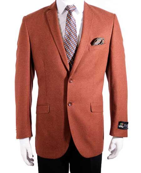 2 Button men's Slim Fit Rust Single Breasted Notch Collar Sport Coat Blazer