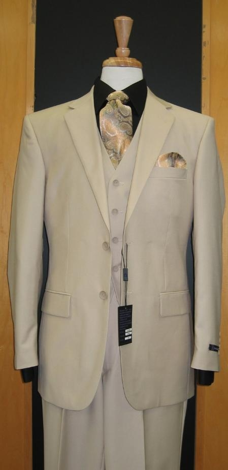 RE133 Two Button Three Piece Sand ~ Beige Khaki Color Flat Front three piece suit
