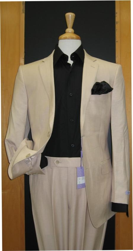 Product# Bf637 & Kids Boys Sizes Two Button Sand ~ Khaki ~ Natural ~ Flax Color Men's 2 Piece Linen Causal Outfits Feel Touch Poly Rayon Wrinkle Touch Superior Fabric Light Weight Boys And Men Suit For Teenagers / Beach Wedding Attire For Groom