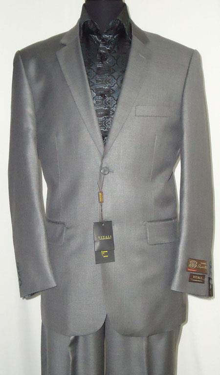 Product# AC-685 Two Button Suit New Edition Shiny Flashy Sharkskin Silver Gray