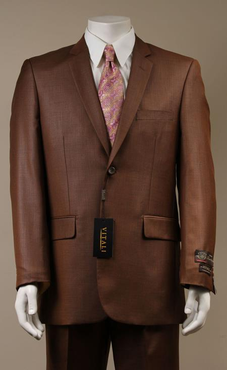 Two Button Suit New Edition Shiny Flashy Sharkskin Rust