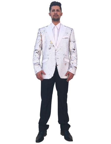 Mens White Peak Lapel