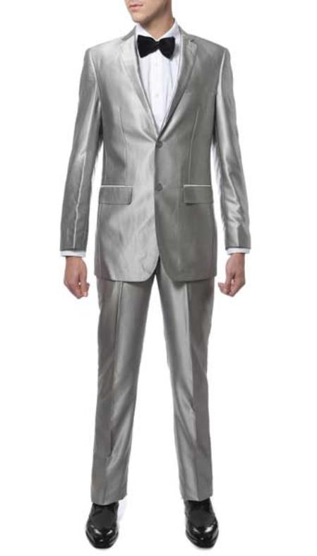 Two Button Single Breasted Closure Silver Notch Lapel Sharkskin Slim narrow Style Fit Suit