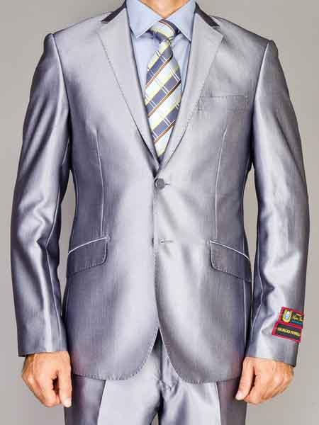 Product# JSM-917 Men's 2 Button Silver Notch Lapel Shiny Slim Fit Double Vent Suit