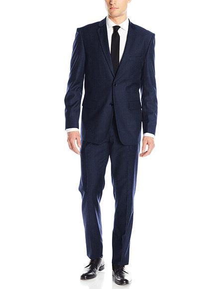 JSM-6824 Men's Classic & Slim Fit Slate Blue 2 Button