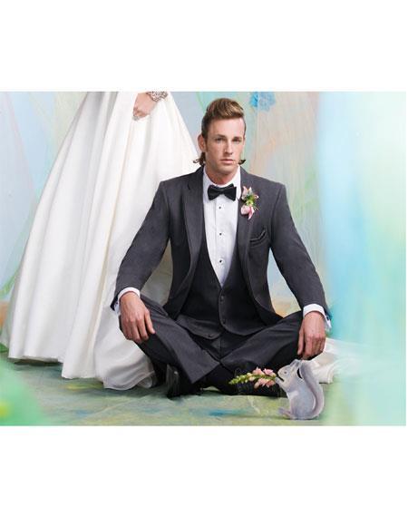 GD1380 Men's Notch Lapel 2 Button Single Breasted Steel Gray Vest Suit