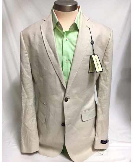 Product# SD298 Men's Two Button Linen Single Breasted Notch Lapel Jacket Sportcoat Stone  Blazer