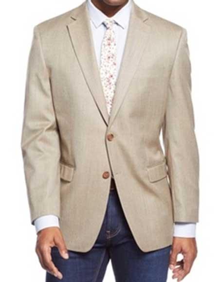 Men's Tan 2 Button Single Breasted Sport Coat Blazer Notch Lapel