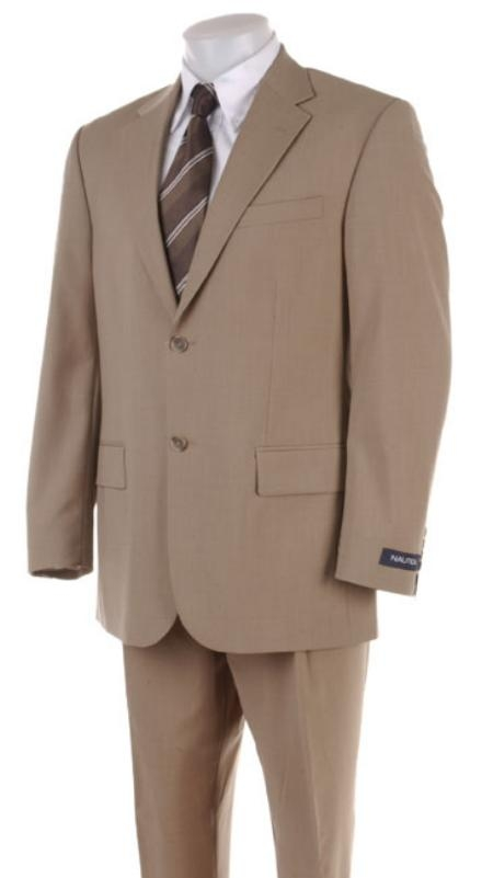 Two Button Superior Fabric 100's HW0462 Coffe ~ Tan khaki Color ~ Beige Business Summer Suits for Online Double Side Vent