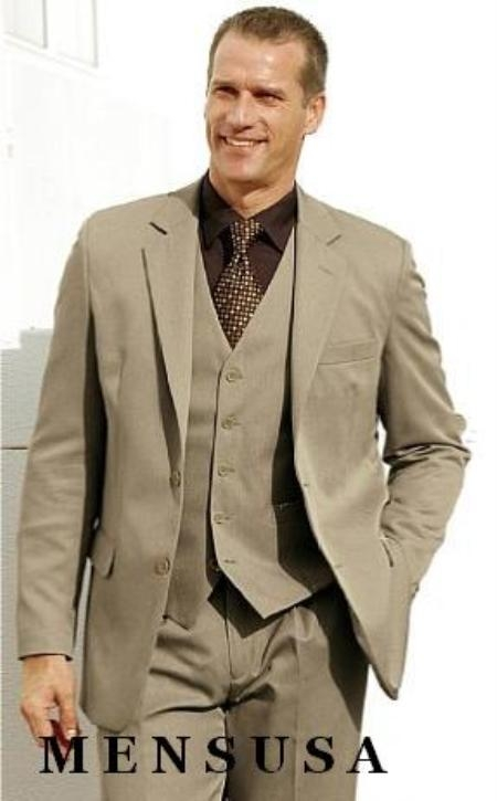 Beige 2 Btn Vested 100% Wool Fabric Feel Poly Rayon three piece suit Notch lapel Vented