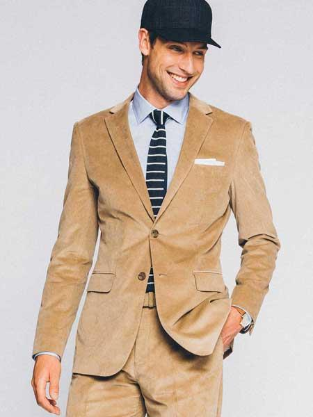 Product# JSM-550 Men's 2 Button CORDUROY Tan SUIT ( Blazer Sportcoat + Slacks) Velvet Suit