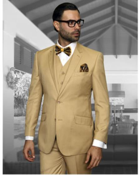 Men's Statement 2 Button Chestnut Tan Modern Fit Wool Suit