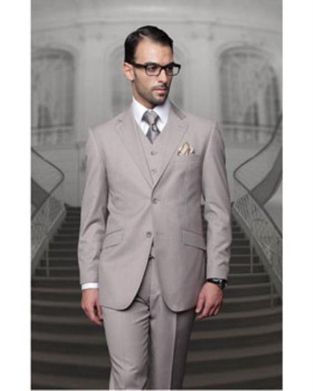 JSM-1324 Men's Statement Tan 2 Button Modern Fit Wool Suit