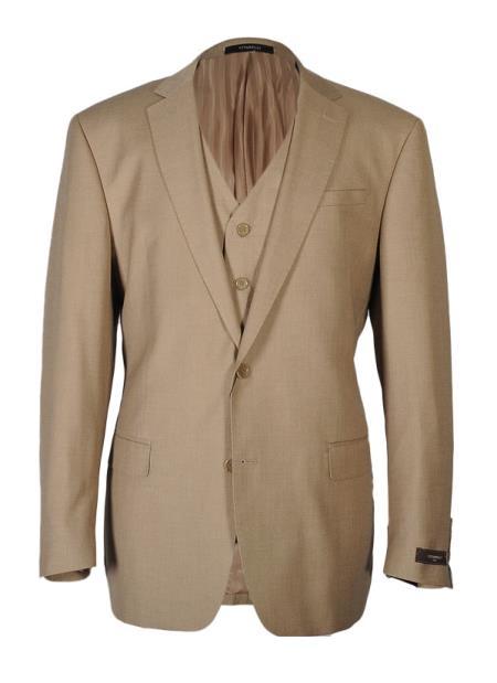 Product# JSM-4046 Vitarelli Men's Notch Lapel 2 Button Tan Fashion Fit Cut Vested Suit
