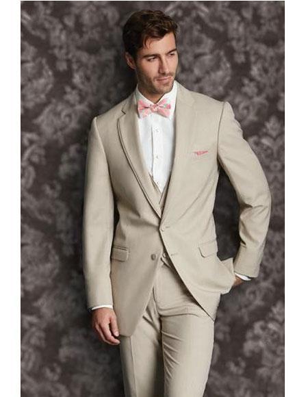 GD1379 Men's Tan 2 Button Single Breasted Vest Notch Lapel Suit